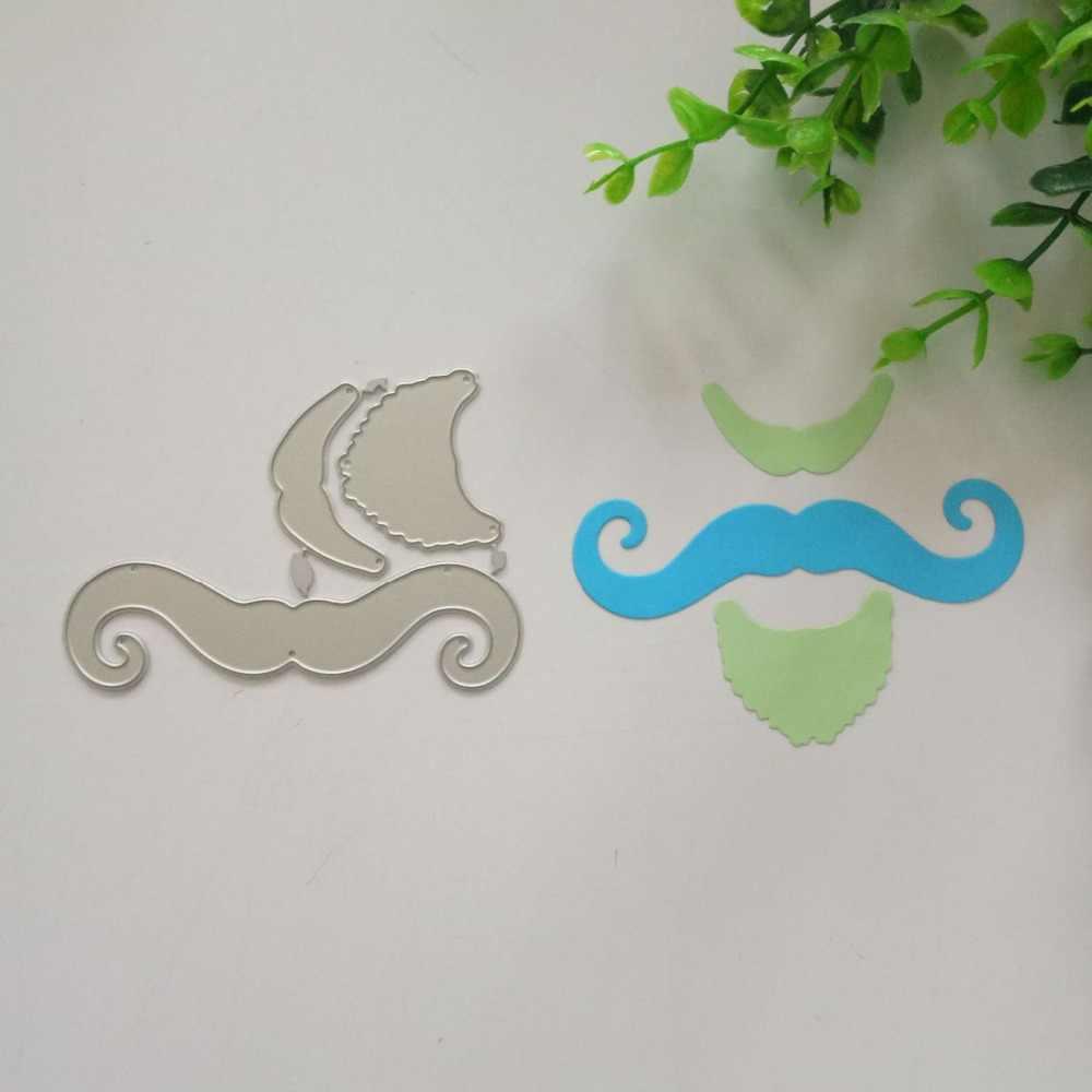 Plantillas de corte de Metal de bigote de caballero para decoración de álbum de recortes DIY tarjetas de papel con estampado