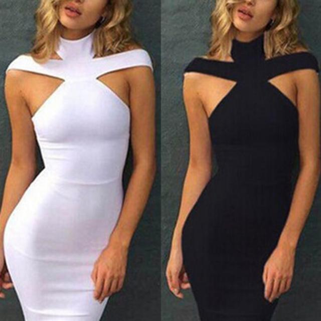 Dress Women Summer 2018 Sexy High Collar Cutout Sleeveless Solid Slimming Club Party Dress Women  3