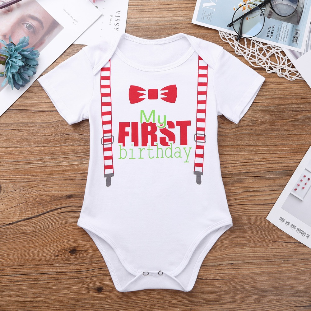 3e7d7d9341b iEFiEL Infant Baby Boys Bowknot My First 1ST Birthday Bow Tie and  Suspenders Pattern Printed Romper
