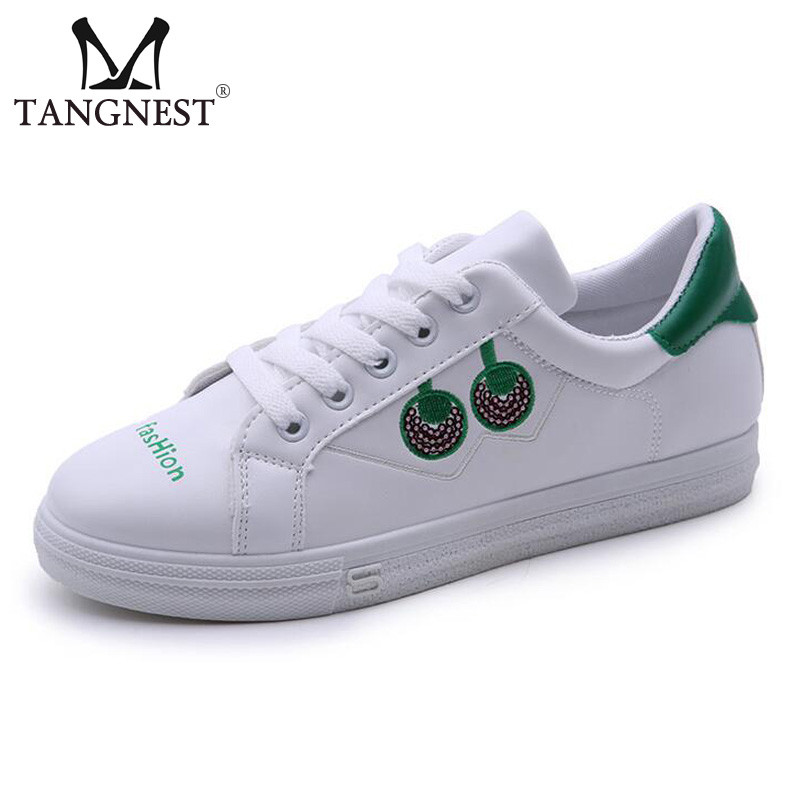 Tangnest Candy Color Casual White Shoes For Women Round Toe Lace Up Platform Shoes Bling Creepers PU Leather Flats XWC1235