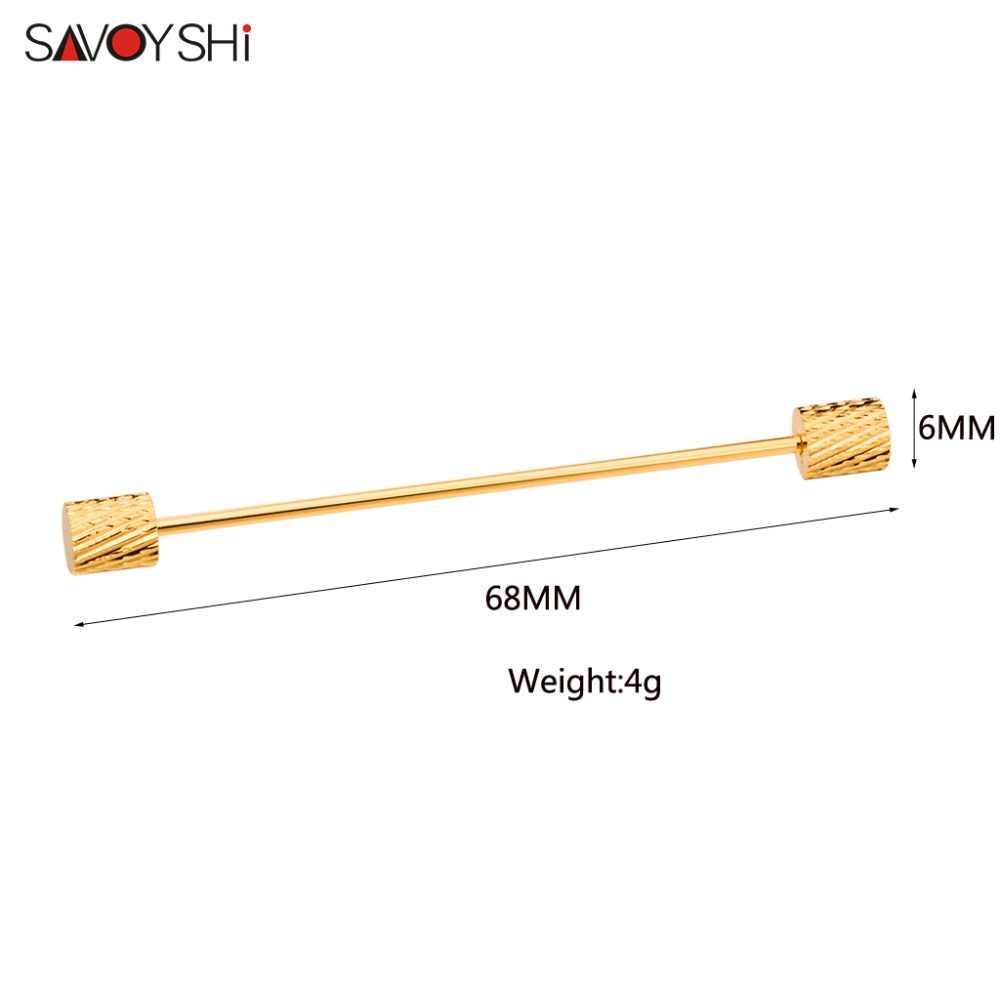 SAVOYSHI แฟชั่นเครื่องประดับ Mens Collar Pin เข็มกลัดโลหะกรวย Bar Clasp คลิป Barbell Lapel Stick สำหรับชายอุปกรณ์เสริม