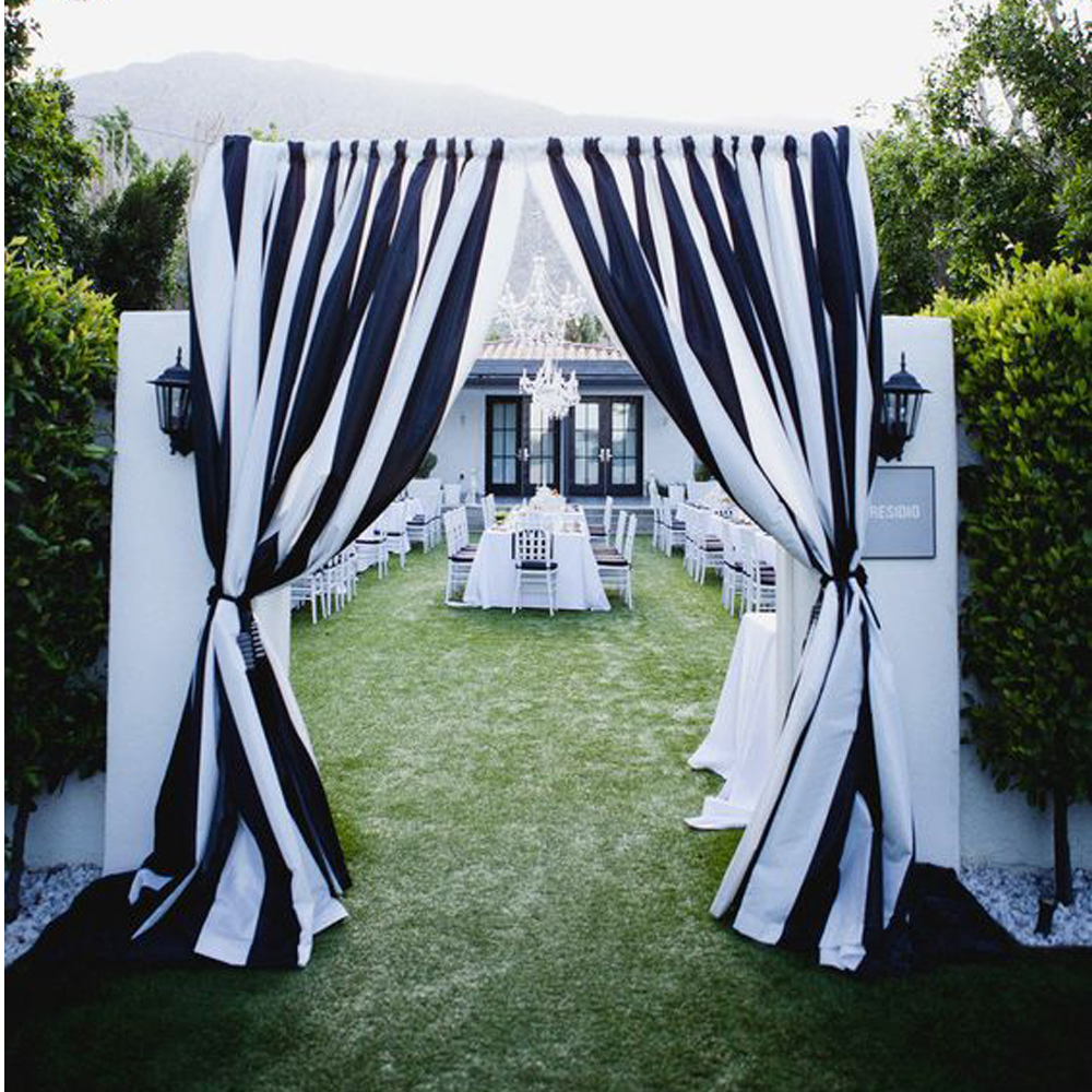 Black And White Chiffon Backdrop With Pipe Pocket For Wedding Party