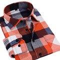 2017 мужские рубашки осень-зима рубашка с длинными рукавами теплый Щеткой Фланелевую Рубашку, оптовая повседневная мужчины клетчатую рубашку camisa masculina