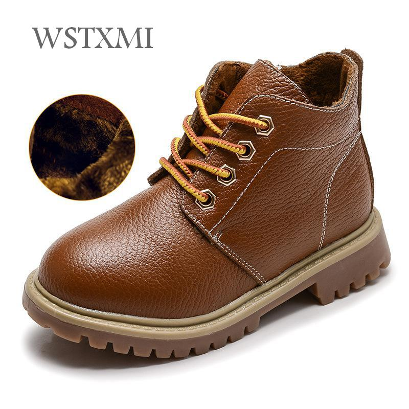 все цены на Winter Kids Genuine Leather Boots for Boys Fashion Vintage Martin Boots Plush Warm Ankle Boots Children Snow Waterproof Shoes онлайн