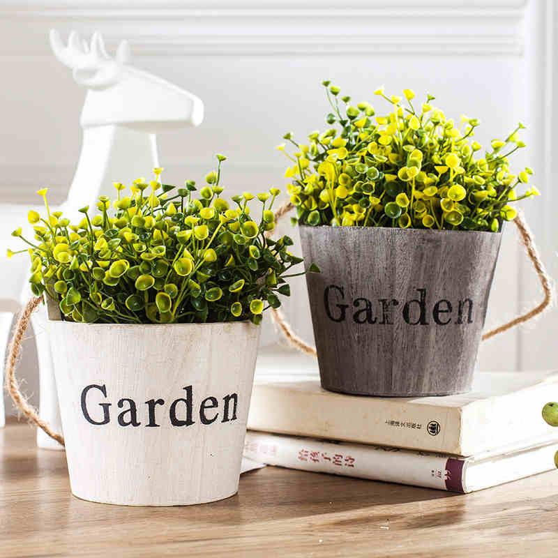 Pastoral Style Wood Flower Bonsai 1pc Succulents Nursery Hanging Flower Pots Planters Home