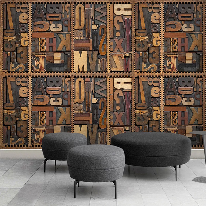 Wood Carving English Alphabet 3D TV Background Wall Painting Living Room Study Room Self-adhesive Wall Sticker Mural Wallpaper