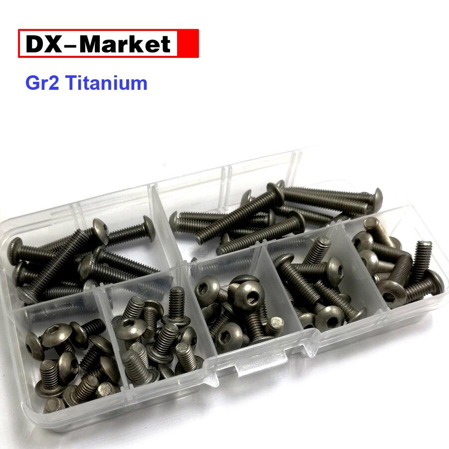 M3 m4 m5 m6 kit de parafuso de titânio, encanta o parafuso de cabeça do botão do soquete, iso 7380 parafuso de titânio, gr2 fixadores de titânio