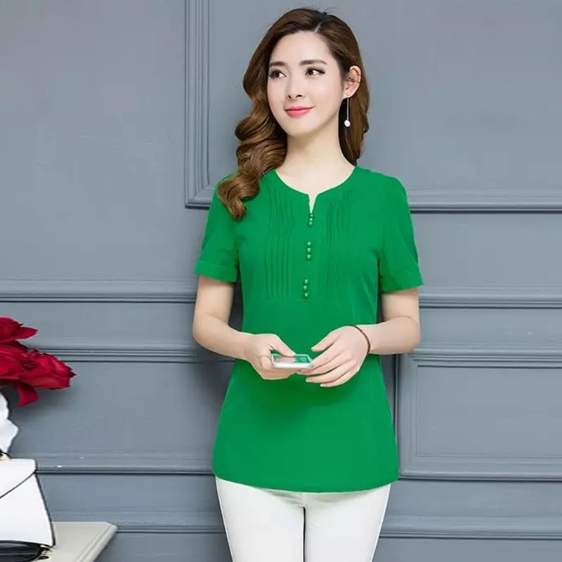 L-5XL Plus Size Women Spring Summer Chiffon   Blouses     Shirts   Lady Casual Short Sleeve Green Rose Orange Blusas Tops DF2457