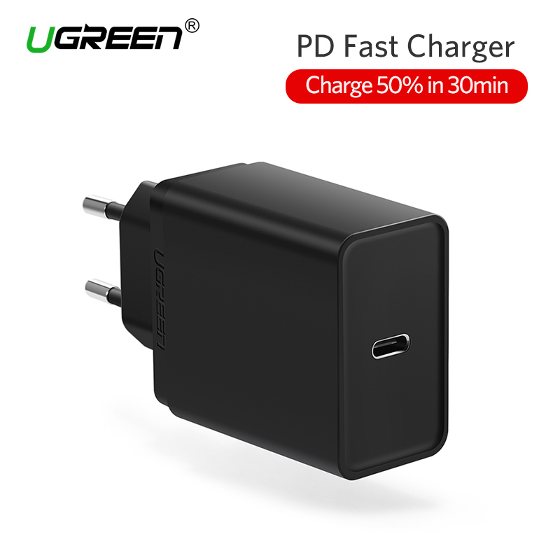 Ugreen 30W USB Type C Charger Fast USB C Wall Charger Mobile Phone PD Charger for iPhone 8 X Samsung Galaxy S9 Nintendo Switch