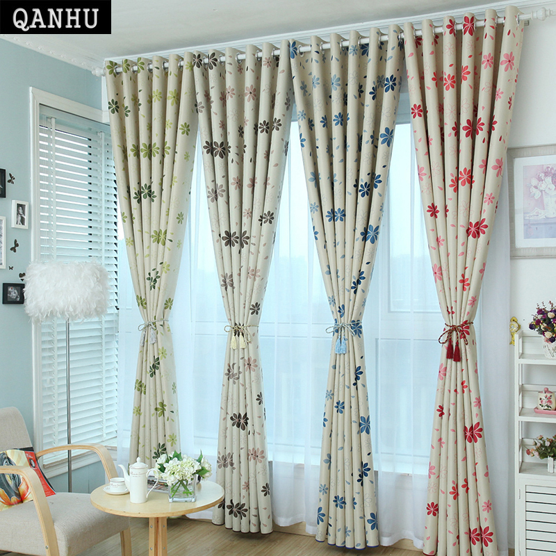 US $17.8 |QANHU Yarn Curtains Flower Pattern Home Textiles Curtains/Tulle  for Love Bedroom Blackout Curtains Sets for the Living Room 1 1-in Curtains  ...