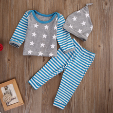2016 Autumn Newborn Baby Girl Boy Clothes Long Sleeve Striped Tops+Pants Hat 3pcs Outfit Set