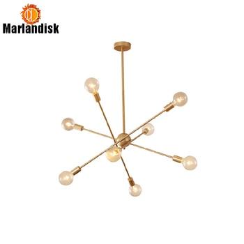 Post-Modern Golden Gantung Lampu Kepala/8 Kepala Lampu Gantung Dua Lapisan E27 Suspendsion Makan Pendant Light lampu Tidur