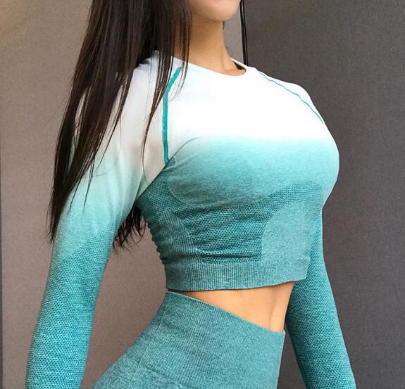Feminino ombre recortado sem costura manga longa