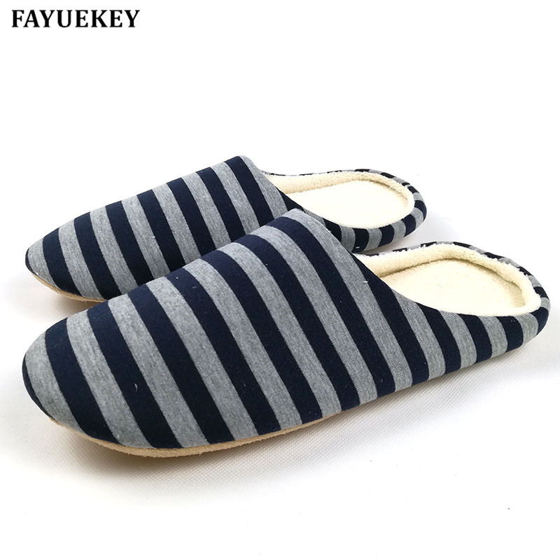 FAYUEKEY 2018 New Soft Sole Spring Autumn Winter Warm Home Cotton Plush Striped Slippers Men Indoor\ Floor Flat Shoes Boys Gift fongimic men women winter warm cotton leather slippers soft fur home shoes indoor flat floor shoes new couples plush footwear