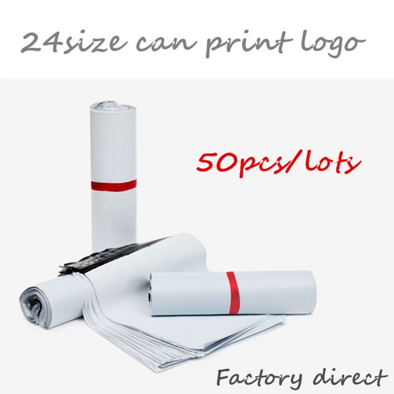 Courier Bags Envelope-Mailer Adhesive Self-Seal Poly Plastic 50pcs/Lot White