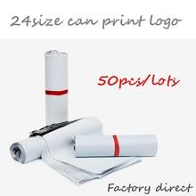 Купить с кэшбэком 50Pcs/Lot White Self-seal Adhesive Courier bags Storage Bags Plastic Poly Envelope Mailer Postal Shipping Mailing Bags free ship