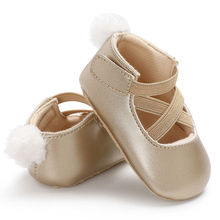 0-18M Toddler Baby Girl Pu First Walkers Princess Shoes cute pom shoes Infant Prewalker New Born for girls D15
