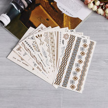 Gold Silver Color Temporary Leaf Flower Tattoos Removable Metallic Sex Products Jewelry Henna Tatouage Body Art Tatto Stickers(China)