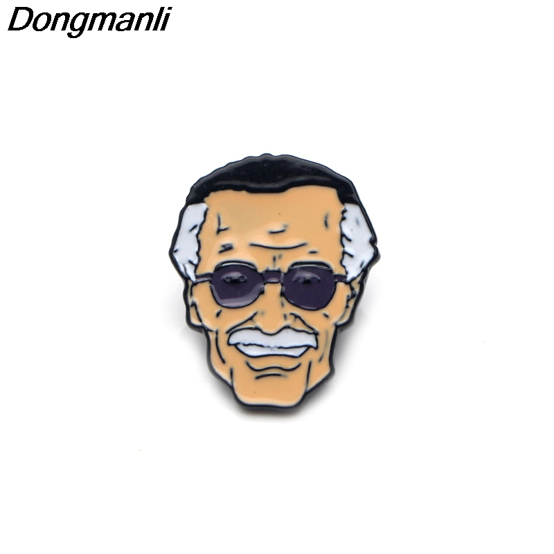 P3303 Dongmanli Stan Lee Enamel Pins and Brooches for Women Men Lapel Pin  Backpack Bags Badge Fans Gifts Jewelry