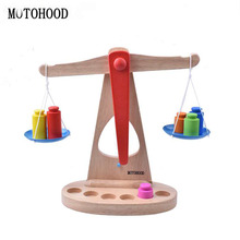 MOTOHOOD Toys For Baby Intelligence Wooden Weight Balance Scales Toys For Kids Building Blocks Enlighten Wood Toys Developmental