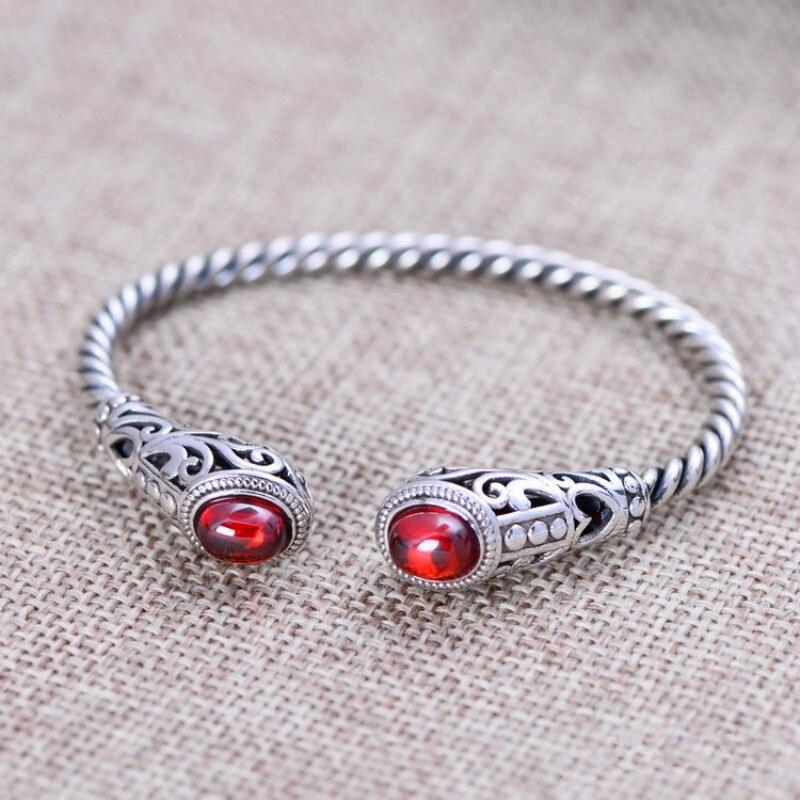 Solid 925 Sterling Silver Jewelry Women Cuff Bracelets Bangle Twist Wire Inlaid Red Garnet Vintage Flower