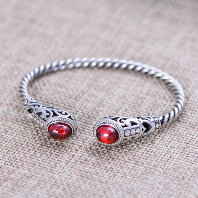 Solid 925 Sterling Silver Jewelry Women Cuff Bracelets Bangle Twist Wire Inlaid Red Garnet White Jade Vintage Flower Pattern