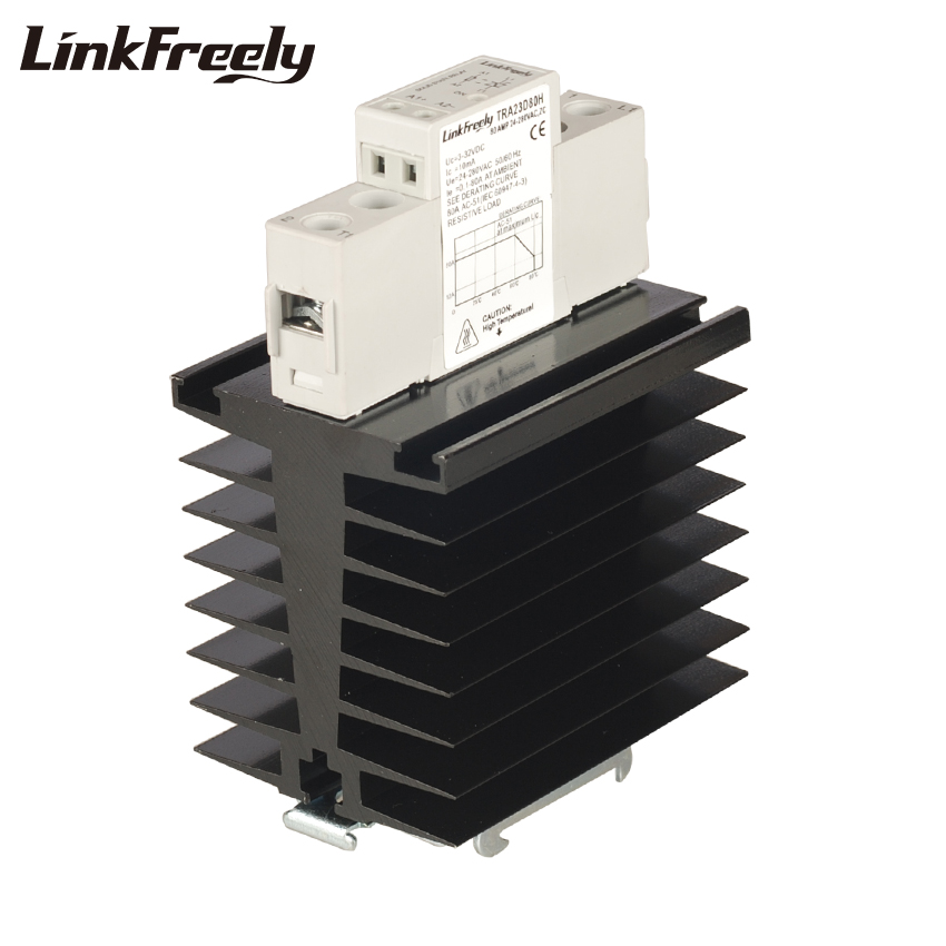 TRA23D80H DC AC Heat Sink SSR Solid State Relay Din Rail 80A 24-280VAC Out 3V 5V 12V 24V In Electrical Voltage Switch