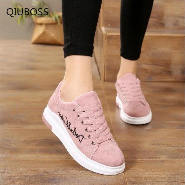 061efc9b5a7 QIUBOSS 2018 de las mujeres de la moda vulcanizar Zapatos casuales Zapatos  de plataforma de mujer