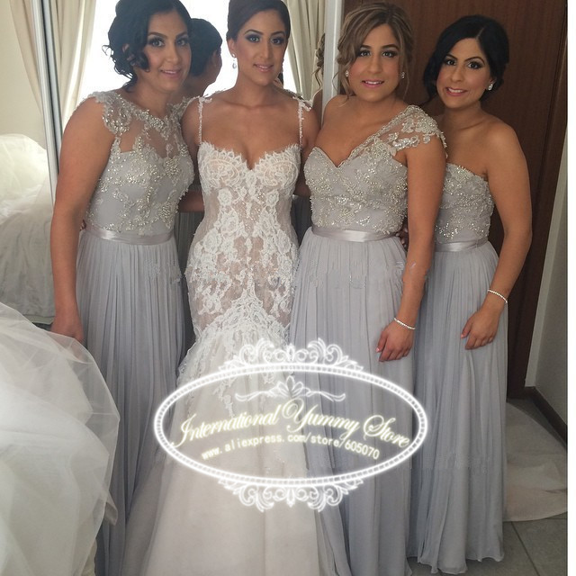 haotaitai long silver bridesmaid dress for wedding prom dress with sequins and beads multi styles