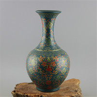 Jingdezhen Antique Enamel Vase Yong Zheng Green Glaze Vase With Flower Pattern Imitation of Ancient Porcelain Kiln Antique