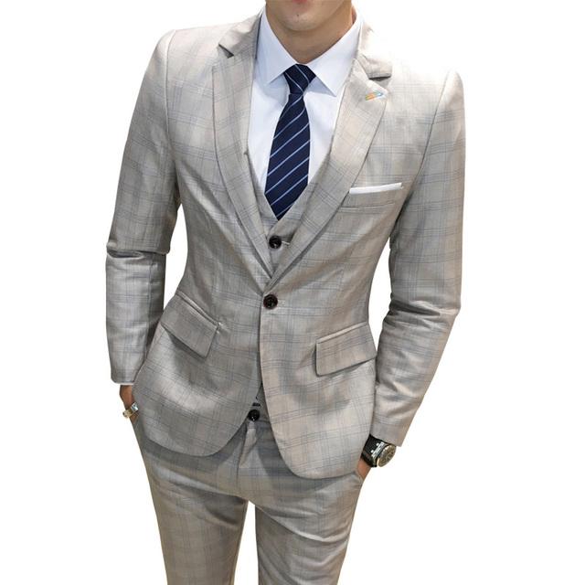 2018 Men Business Suit Slim fit Classic Male Suits Blazers Luxury Suit Male Single buckle 3 Pieces(Blazer + Pants + vest) M-5XL