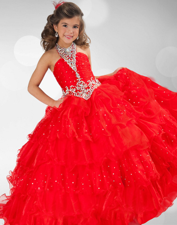 Princess Ball Gown Hot Red Layered Tulle Halter Beading Flower Girls ...