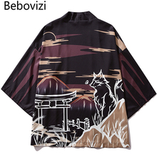 Bebovizi Japan Style Printed Black Thin Kimono Men Japanese Streetwear Ukiyo E Jackets 2019 Casual Outerwear Robe