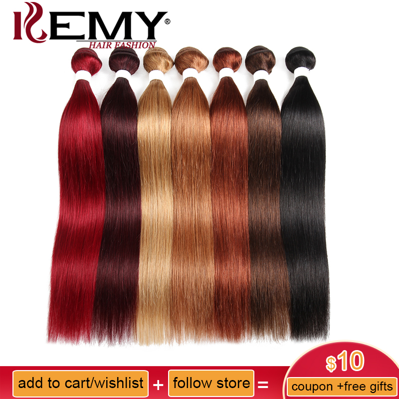 Brazilian Straight Human Hair Weaves Bundle KEMY HAIR 1PC 8-26 Inch Human Hair Bundles Non-Remy Hair Extensions Free Shipping(China)