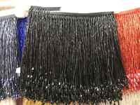 Schwarz schwere bead fringe quaste trim für dance kostüm, haute couture kleid trimmen perlen fringe
