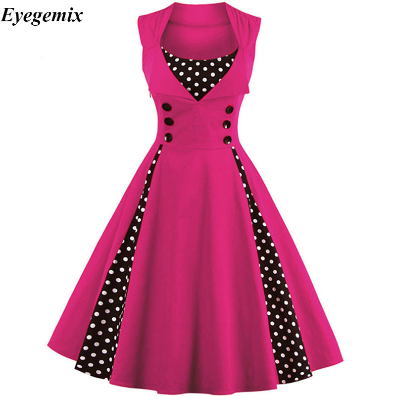 S-4XL damska suknia Retro sukienka Vintage 50s 60s Rockabilly Dot huśtawka Pin Up letnie sukienek elegancka tunika Vestidos Casual