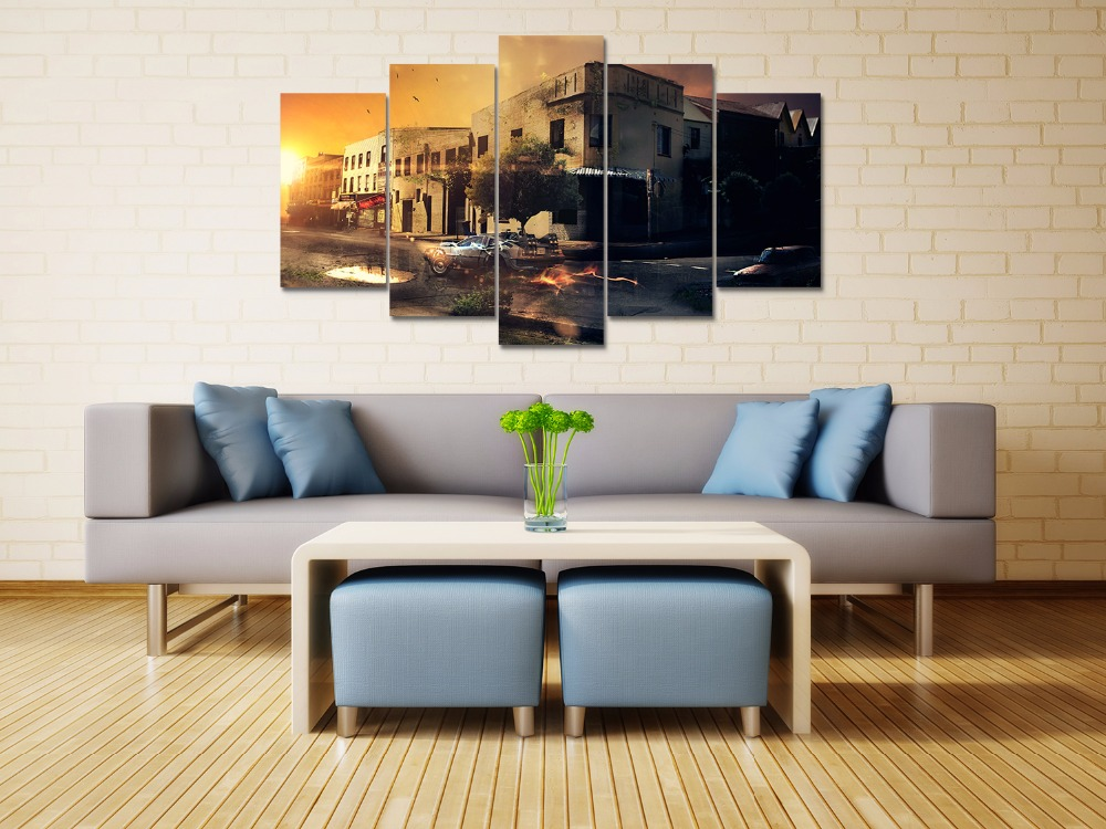 5 panel HD printed canvas print painting back to the future canvas poster Home Decor Wall art Pictures For Living Room F1899