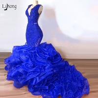 Luxury Royal Blue Lace Beaded Mermaid Prom Dresses 2019 Puffy Bottom Ruffles Long Prom Gowns Sexy Party Dress Vestido Formatura
