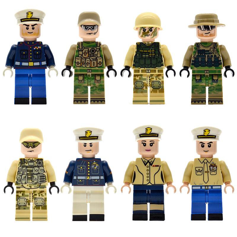 10pcs/lot Army Marine Corps Military Soldiers Building Blocks Bricks Figurine Weapons Kids Gifts Toys LS1610 pvc building blocks army field combat military escort weapons