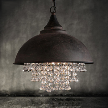 Vintage country style industrial loft glass crystal iron pendant lights. retro indoor home shop suspension lamp drop lights