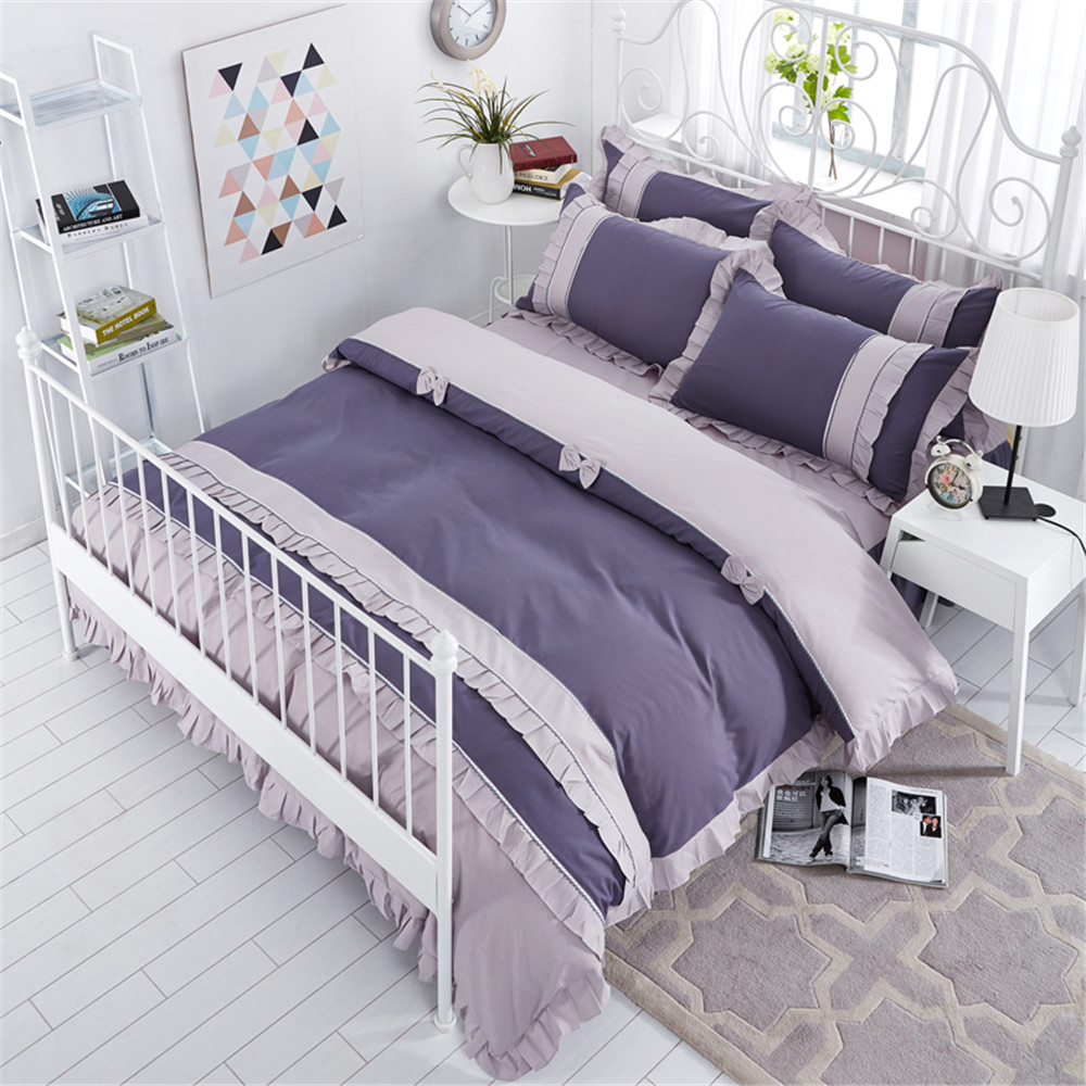 Korean style bedding set solid color gray blue duvet cover bed skirt princess twin queen double size bedroom home textile 4pcsKorean style bedding set solid color gray blue duvet cover bed skirt princess twin queen double size bedroom home textile 4pcs