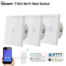 SONOFF 새로운 T1EU Wifi 스마트 스위치 터치 스크린 원격 ON/OFF 1/2/3 Gang 433Mhz RF/Voice/APP/Touch Control 86 유형 스마트 홈 TX