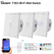 SONOFF חדש T1EU Wifi חכם מתג מגע מסך מרחוק ON/OFF 1/2/3 כנופיית 433Mhz RF/קול/אפליקציה/מגע שליטה 86 סוג חכם בית TX