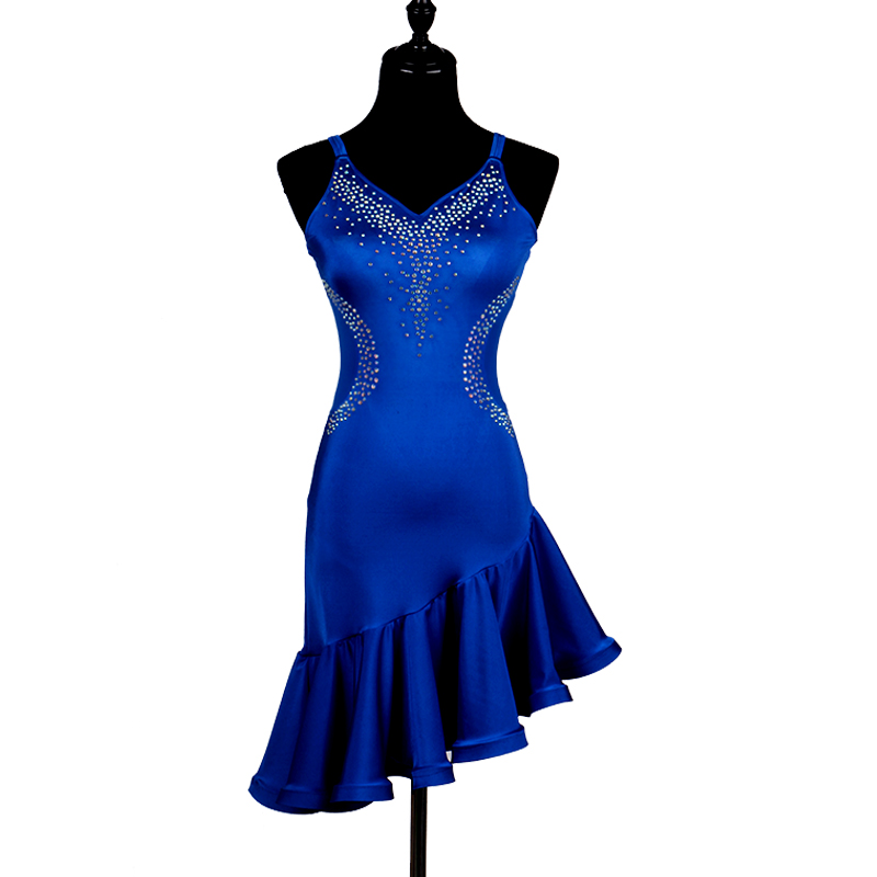 2018 New blue latin dance costumes of girl samba tango latin dance dress women salsa latin