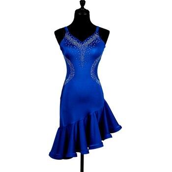 39e05043 2018 nuevo azul baile latino trajes de chica samba tango vestido de baile  latino para mujer latina salsa competencia vestido de chica
