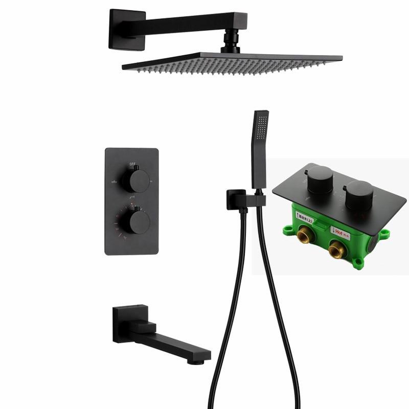 Mélangeur thermostatique de douche de pluie carrée d'acier inoxydable de couleur noire mate avec le bec et la douche S128