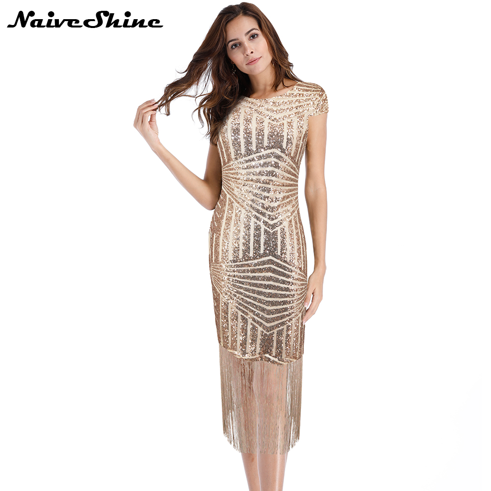 Naive Shine Elegant Tassel Sequin Party Dresses Short Sleeve ...
