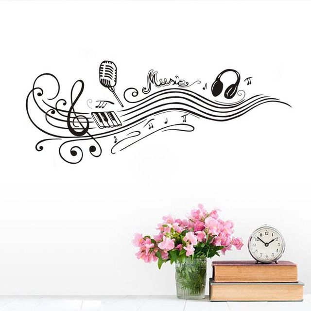 Extraíble Baile Notas Musicales Pared Micrófono Auriculares Vinilo