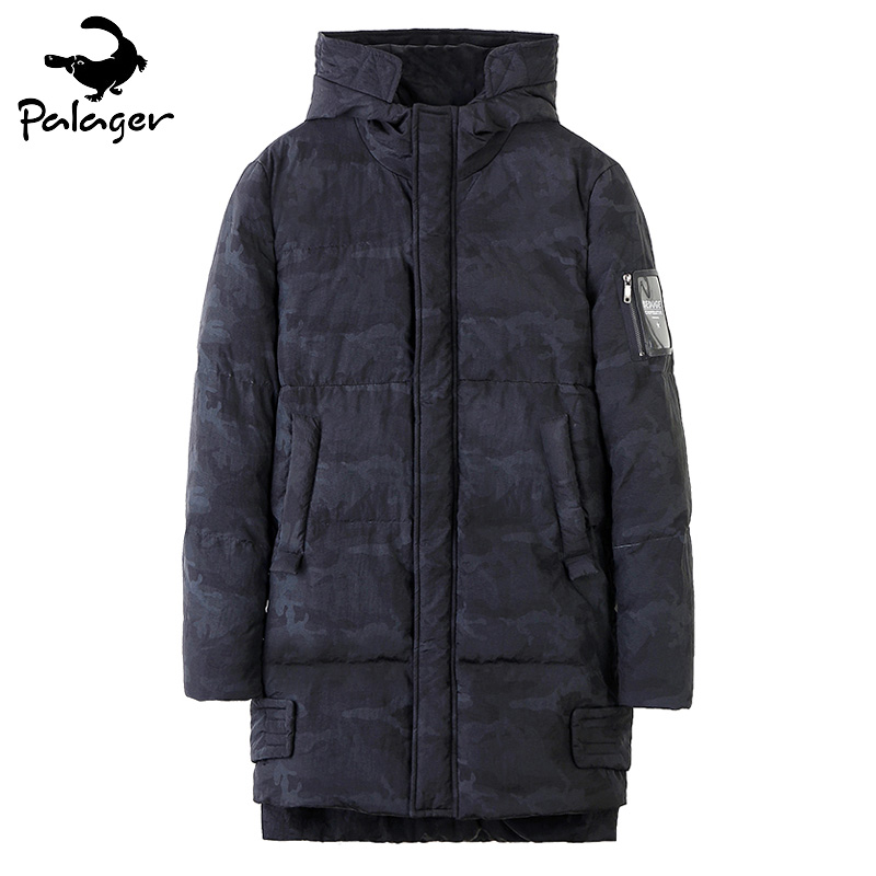 Palager Hooded Long Parka Coat Men Camouflage White Duck Down Jacket Thicken Warm Slim Fit Puffer Jacket Male Army Windbreaker