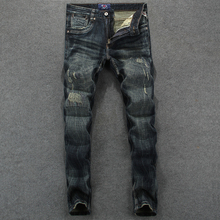 Italian Style Fashion Men's Jeans High Quality Slim Fit Ripp